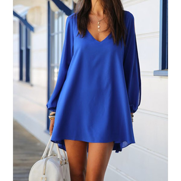 Stylish Women's V-Neck Long Sleeve Hollow Out Chiffon Dress