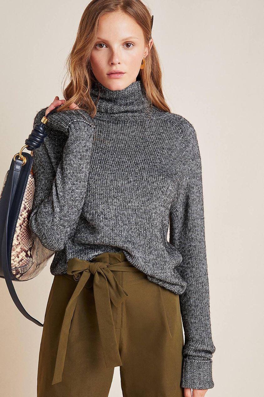 Coretta Shine Turtleneck Sweater by Anthropologie in Black