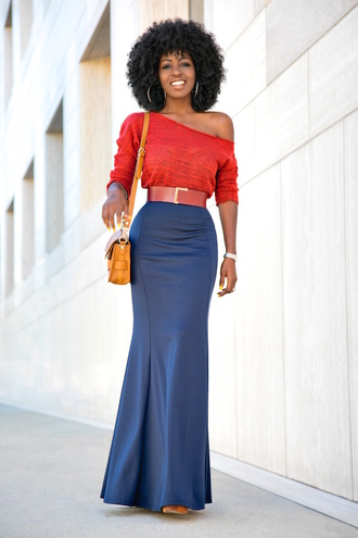 blogger bag red top long sleeves maxi skirt pencil skirt blue skirt off the shoulder yellow bag black girls killin it