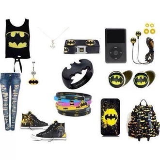 bag backpack top shirt tank top ring jewels jewelry batman shoes converse belt necklace belly ring bracelets heaphones phone cover