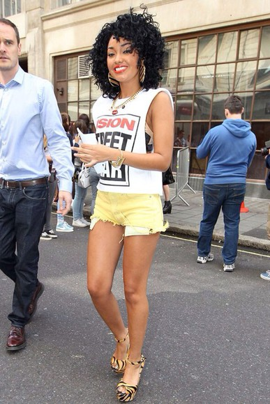 yellow shorts short shorts leigh anne little mix