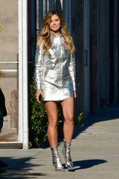 dress,shirt,shirt dress,metallic,metallic shoes,heidi klum,model,celebrity
