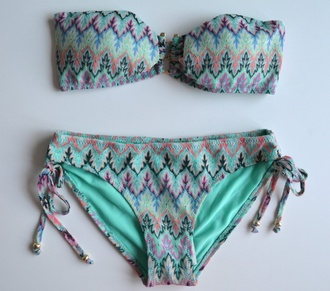 pink swimwear bikini green missoni purple turquoise