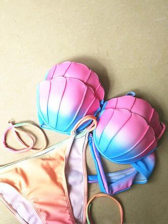 swimwear mynystyle push up bikini pink mermaid seashell ring bikini trendy tribal pattern cute