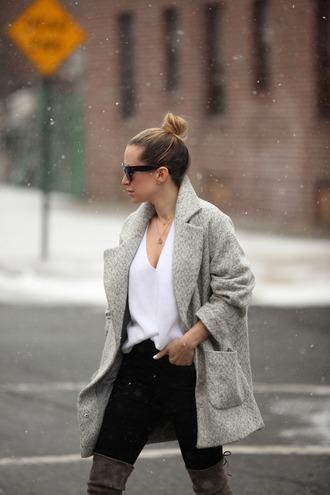 brooklyn blonde blogger grey coat