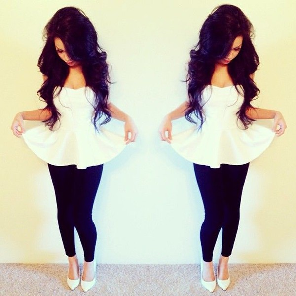 peplum top white black shoes high heels peplum