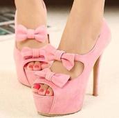 shoes,pink,rose bows high heels stiettos pumps plateau