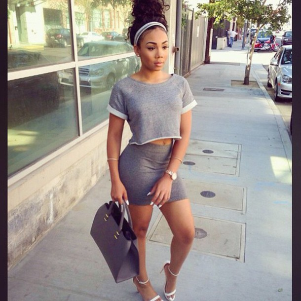 Top: grey crop top, cropped, crop tops, crop top skirt ...