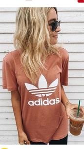 t-shirt,shirt,pink,tumblr shirt,pink t shirt,adidas,adidas originals,adidas shirt