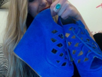 blue shoes wedges