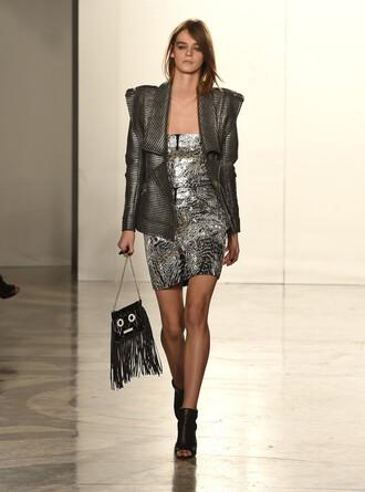 dress jacket sandals fashion fashion week 2015 purse bag
