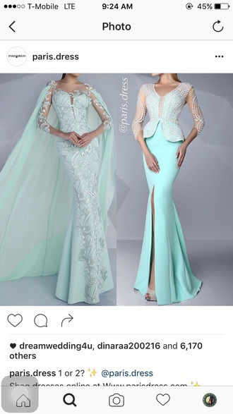 dress formal dress gown mint dress