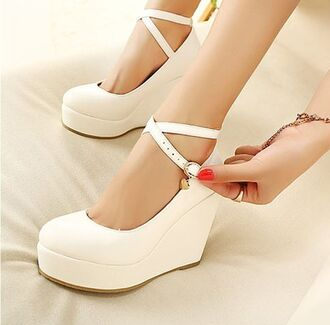 shoes heels wedges strappy white black classy feminine pumps ankle length platform shoes