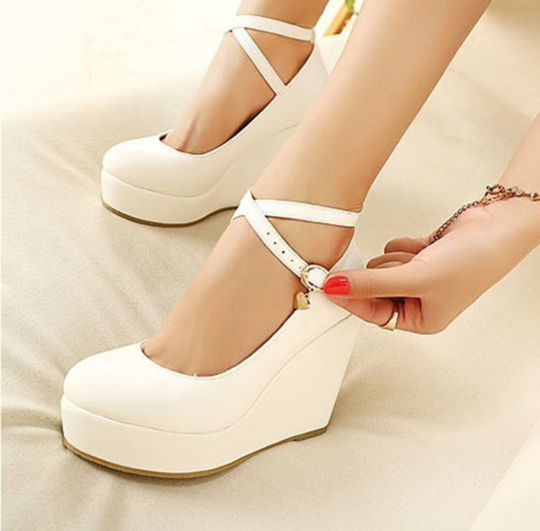 shoes heels wedges strappy white black classy feminine pumps ankle length platform shoes