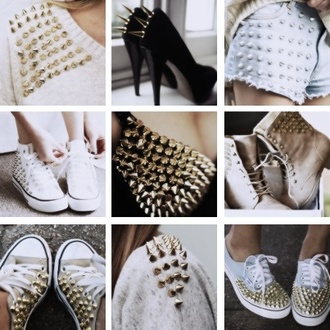 shorts converse studs studded studded shoes studded sweater shoes sweater sweatshirt studded shorts studded denim shorts studded converses vans