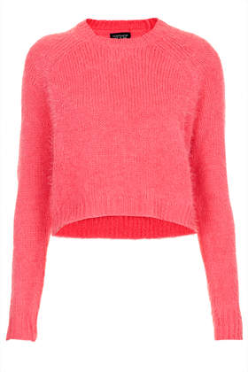 Knitted Fluffy Crop Jumper - Topshop USA