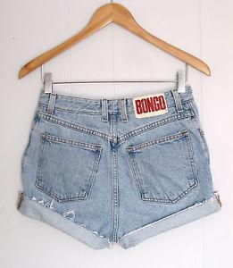 Vintage light wash high waisted cut off denim shorts blue jean usa 28