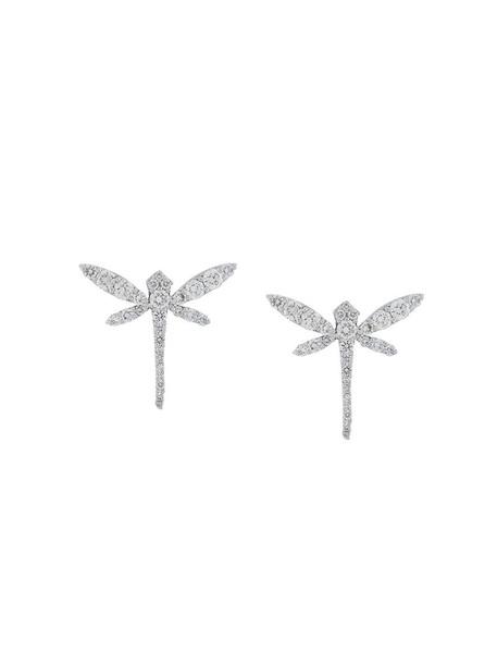 Anapsara women dragonfly earrings stud earrings gold white grey metallic jewels