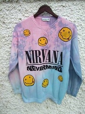 sweater,coat,nirvana,girl,music,nevermind,tie dye,yes,purple,lila,jumper,pastel goth,dye,nirvana sweatshirt,ombre sweater,cardigan,nivarna,tumblr,pastel,grudge,jacket,nirvana tie dye