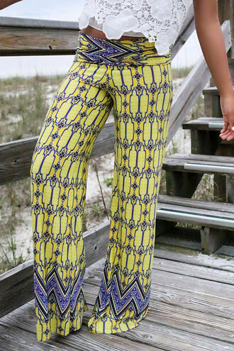 pants yellow tribal pattern amazinglace amazinglace.com summer beach pretty bright print palazzo