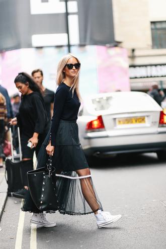 the fashion guitar blogger skirt sweater bag sunglasses jewels shoes high top converse converse black skirt maxi skirt black bag