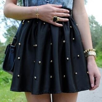skirt studded black skater black skirt