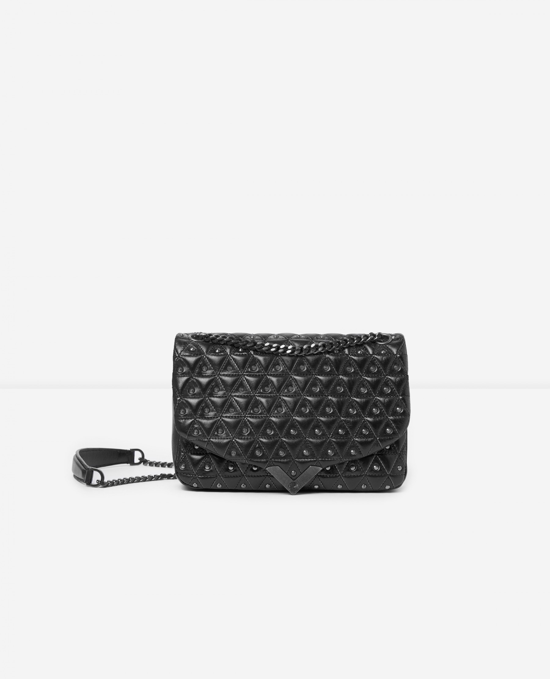 The Kooples Official Website - Medium black leather bag with silver studs Stella by The Kooples