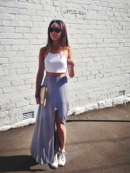 skirt maxi skirt slit skirt stripy skirt thigh high slit maxi skirt sincerely jules long long skirt grey gray grey skirt white white top white crop tops crop tops halter neck halter halter crop top white halter top