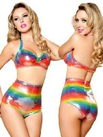 Amazon.com: Rainbow Zebra High Waisted Bikini Bottom Shorts - MEDIUM/LARGE: Fashion Swimsuit Bottoms Separates: Clothing