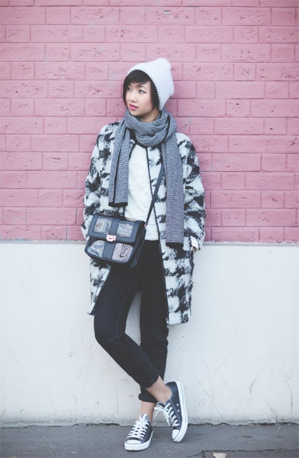 le monde de tokyobanhbao coat sweater scarf hat bag jeans shoes