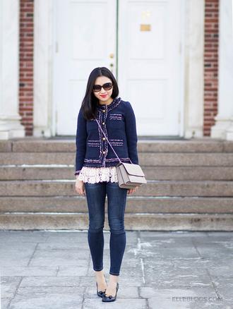 fastfood&fastfashion blogger jacket blouse leggings jeans bag blue jacket crossbody bag pumps spring outfits