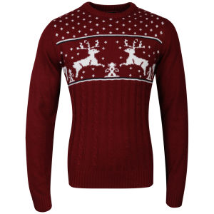 Christmas Branding Reindeer Knitted Jumper - Red 			Mens Clothing | TheHut.com
