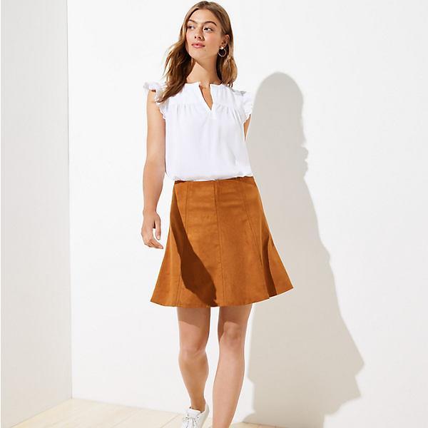 LOFT Petite Faux Suede Flippy Skirt