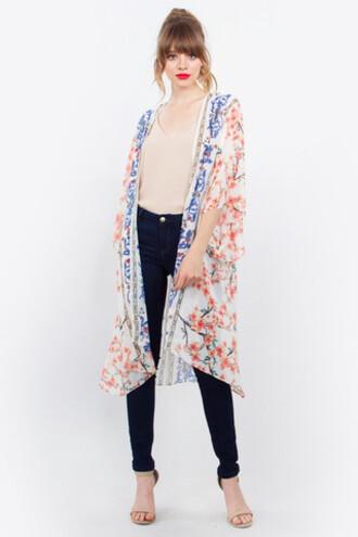 dress sugar lips blue floral kimono flowy kimono kimono print red