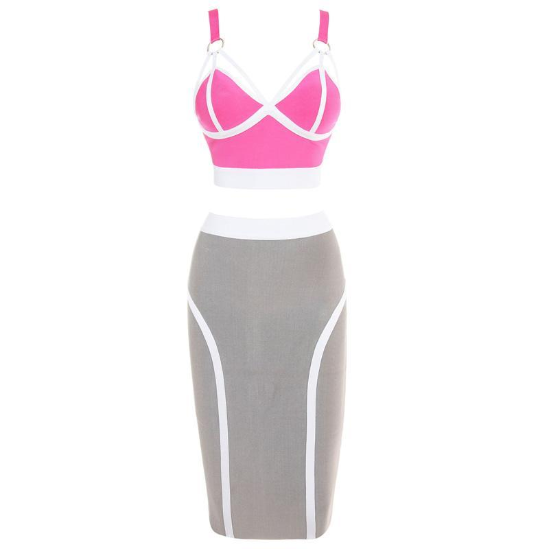 Pink Gray White Bandage Top and Pencil Skirt Duo Set — GIRL CRUSH BOUTIQUE