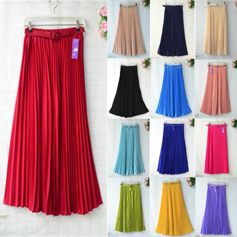 Women Long Skirt Pleated Retro Elastic WaistBand Belt Chiffon Full Skirts