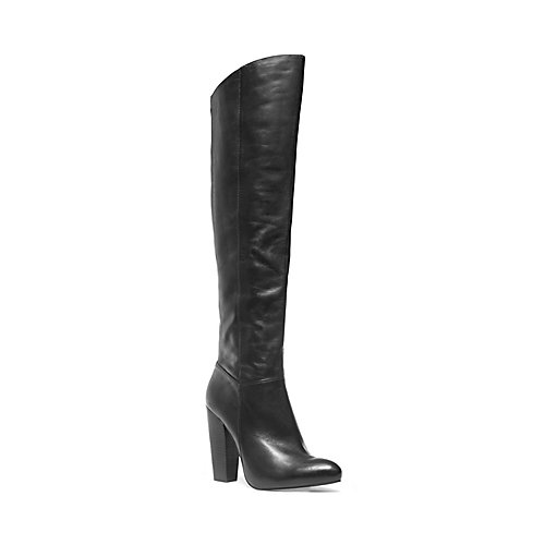 JENNINGS BLACK LEATHER women's boot high over knee - Steve Madden