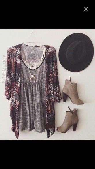 dress hat shoes cardigan jewels bralette tribal cardigan boho ethnic pinterest moon necklace