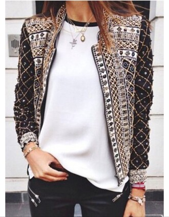 jacket girly girl girly wishlist cute coat black white studs studded jacket style studded design fashion trendy dope down jacket dope wishlist jewels jewelry gold gold sequins gold chain arm candy necklace silver necklace chain chain necklace sequins sequin jacket pants zip zipped pants white t-shirt white top embroidered jacket embroidered beautiful sexy pretty outfit outfit idea tumblr outfit fall outfits cute  outfits cute top zaful aztec jacket vintage vintage jacket gold jacket