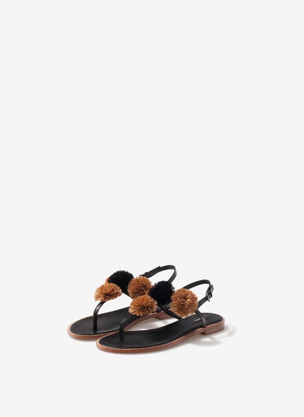 shoes sandals flats pompom shoes flat sandals pom poms