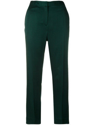high waisted high women cotton green pants
