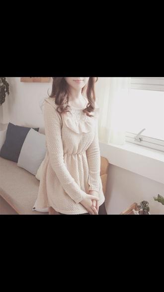 dress kawaii cute cute dress cream cream dress white white dress style flowy white frills