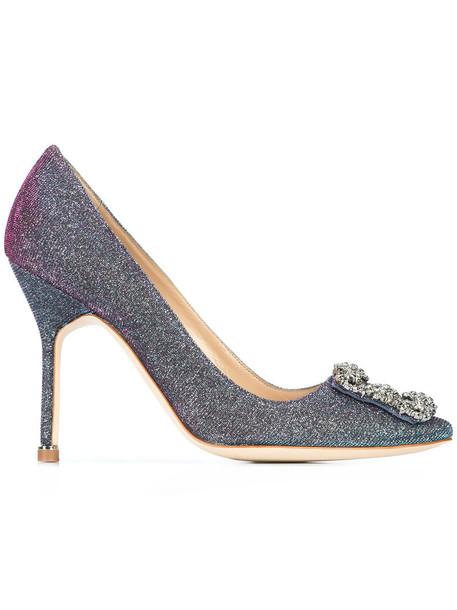 Manolo Blahnik women pumps leather blue shoes