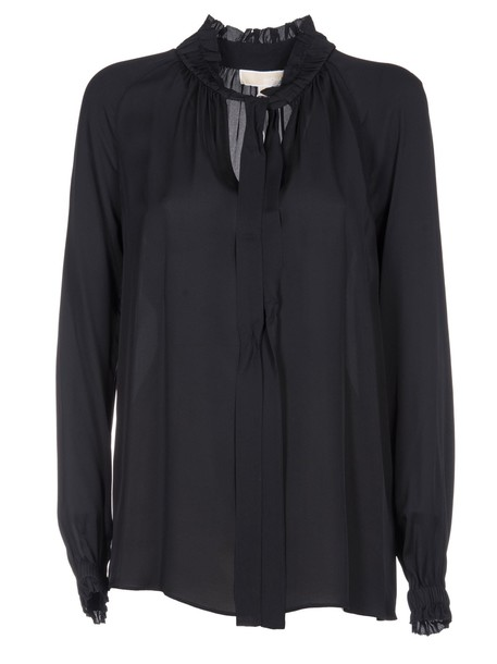 blouse bow black top