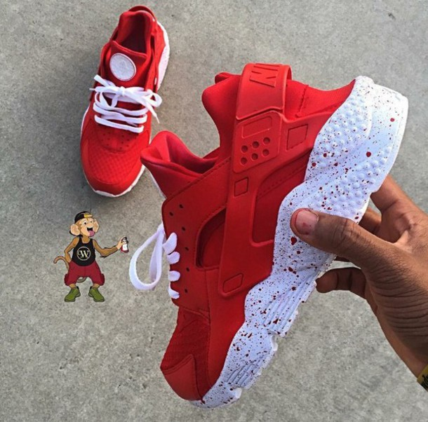 ad3391b1c648 shoes nike nike shoes red white nike air custom shoes customized huarache  nike air huaraches