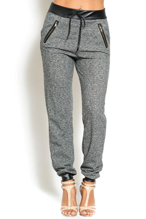 Drawstring pu leather contrast jogger pants