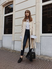 jeans,high waisted jeans,white shirt,coat,satchel bag,necklace,black shoes