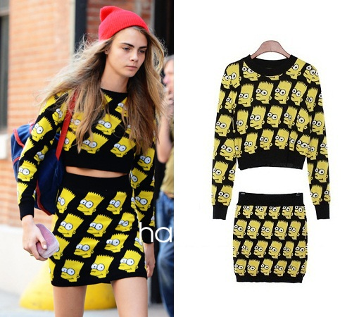 Bart Simpson Skirt Suits Women spring autumn winter knitted set sweater girls cartoon pullover jeremy scott jumper Skirt Top-in Pullovers from Apparel & Accessories on Aliexpress.com