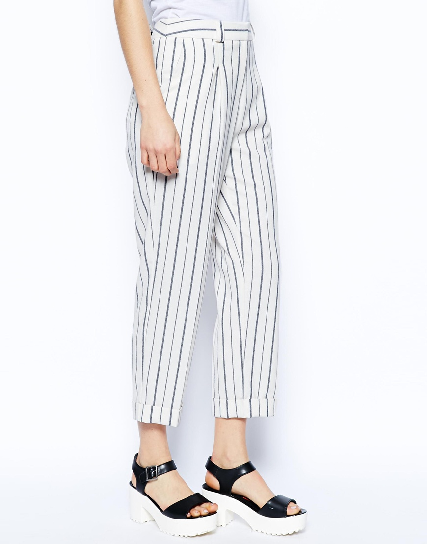 ASOS Slouch Peg Trousers in Stripe at asos.com