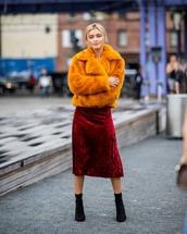 coat,fluffy,black boots,high heels boots,sock boots,midi skirt